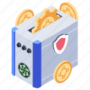 bitcoin mining hardware, coin mining, cryptocurrency mining, protected mining, secure mining icon
