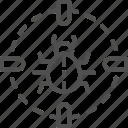 bug, cyber, business, target, hacker, sight, virus icon