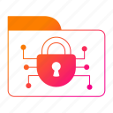 cyber security, folder, network protection, padlock, security icon