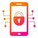 cyber security, mobile, network protection, padlock, security, smartphone icon