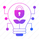 bulb, cyber security, idea, lamp, network protection, padlock, security icon