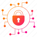 circuit, cyber, cyber security, network protection, padlock, security icon