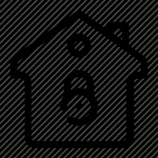 closed house, home lock, house, locked, locked access icon