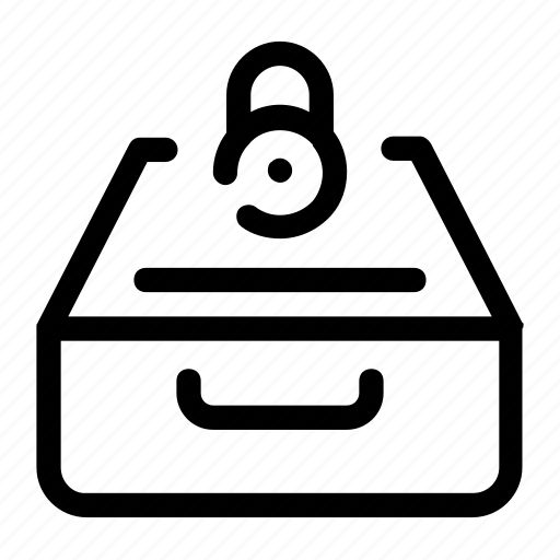 closed, closed files, file box, inbox, locked, locked box icon