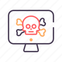 computer, scull, secure, virus icon