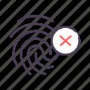 danger, fingerprint, identification, warning icon