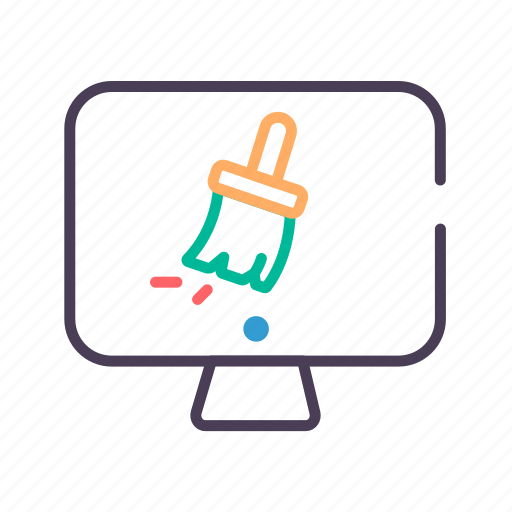 brush, clean, computer, secure icon