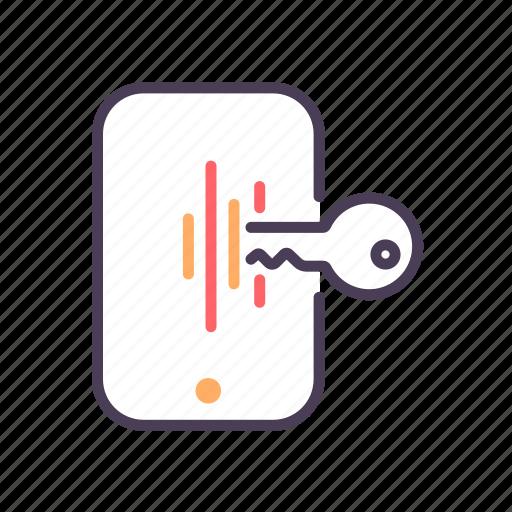 key, phone, security, unlock icon