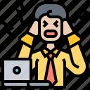 businessman, frustrate, headache, problems, working icon