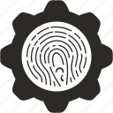 biometry, dactyl, dactylography, finger, identity, settings icon