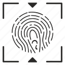 aim, biometry, dactyl, dactylography, finger, frame icon