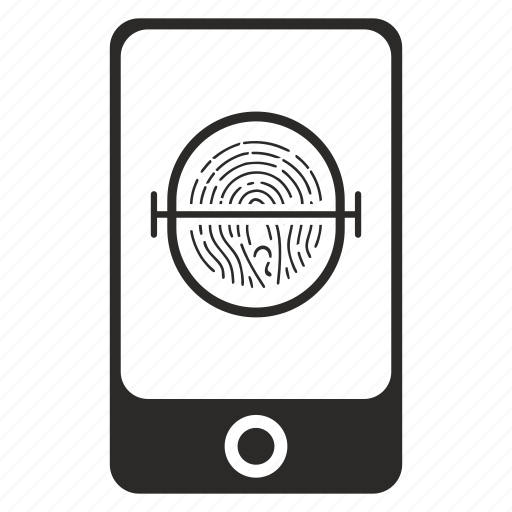 dactyl, dactylography, finger, lock, security, smartphone icon