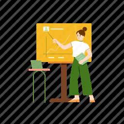 analyze, graph, chart, presentation, woman, statistics, diagram