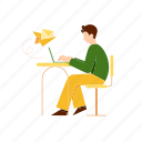 email, desk, chair, laptop, write, work, man