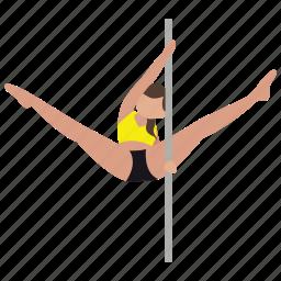 dancer, exercise, exotic, pole, pole dancing, stripper, studio icon