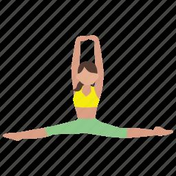 exercise, flexibility, flexible, gymnastics, splits, stretch, workout icon