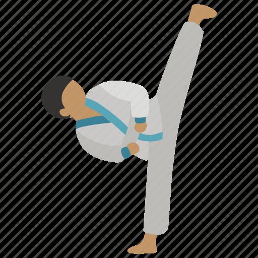 hapkido, judo, karate, kick, martial arts, round house, taekwondo icon