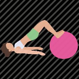aerobics, exercise, gym, gym ball, health, pilates, stretching icon