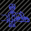 bad, breaking, camper, crash, crime, criminals, danger, gun, vehicle, walter, weapon, white icon