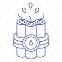 bomb, burning, charge, crime, danger, dynamite, explosive, lit, stick, timer, weapons, wick icon