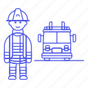 rescuer, male, emergency, danger, fireman, fire, help, truck, crime, rescue, firefighter icon