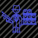 1, crime, criminals, danger, den, gangster, gun, machine, mafia, male, organized, weapon icon