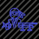 assassin, crime, danger, half, japan, male, mercenary, ninja, shinobi, shuriken, sword, weapon icon