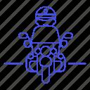 bike, biking, civil, crime, danger, enforcement, guard, law, male, motorcycle, officer, police icon