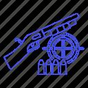 aim, ammo, ammunition, crime, danger, firearm, scattergun, shell, shotgun, slug, target, weapons icon