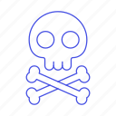 3, crime, crossbone, danger, death, poison, skeleton, skull, virus icon
