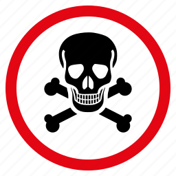 black spot, crossbones, danger, dead, death, skull, toxic icon