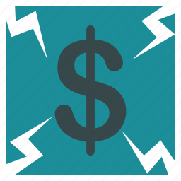 business, currency, dollar, failure, financial, money, payment icon