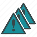 alarm, alert, danger, error, exclamation, multiple, problems icon