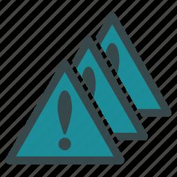alarm, alert, danger, error, exclamation, multiple, problems icon