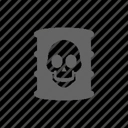 danger, oil, skull, warning, waste icon