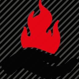 burn, danger, fire, flame, hand, heat, palm icon