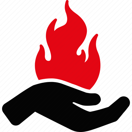 burn, danger, fire, flame, hand, heat, palm icon