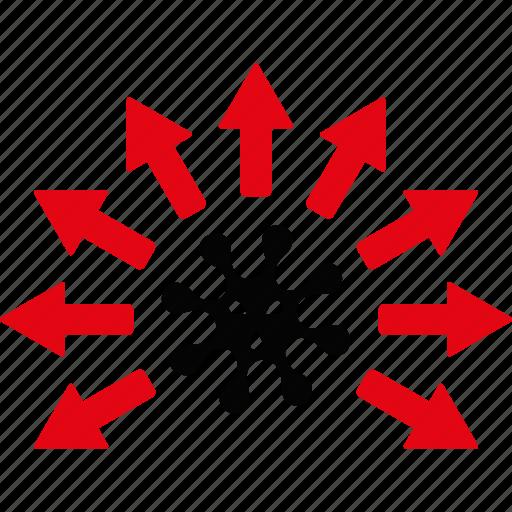 breeding, distribution, epidemy, expansion, scheme, spread, virus icon