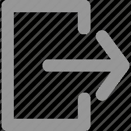 arrow, back, door, exit, leave, logout, sign icon
