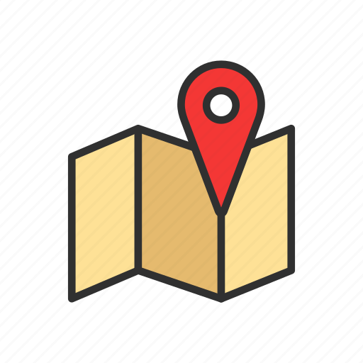 directions, map, pin, place icon