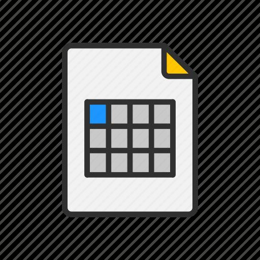 files, sheet, spreadsheet, table icon