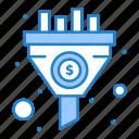 filter, funnel, money, sort icon