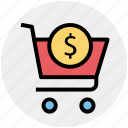 cart, dollar, dollar sign, shopping, shopping cart, sign icon