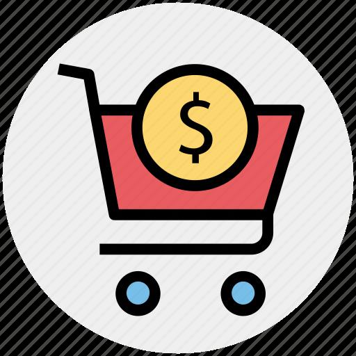 cart, dollar, dollar sign, shopping, shopping cart, sign icon