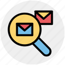 email, envelope, explore, letter, mail, search icon
