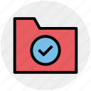accept, check, check mark, folder, folder accept, verification mark icon