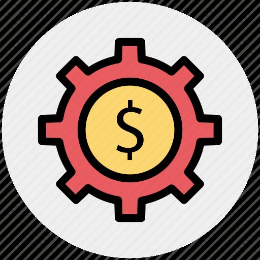 cog, cogwheel, dollar, gear, gearwheel, preferences icon