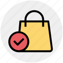 accept, bag, gift bag, hand bag, money bag, shopping bag icon