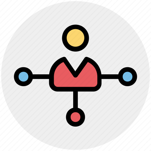 business man, connection, link, networking, node, user icon