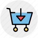 arrow, cart, down, download, move, shopping
